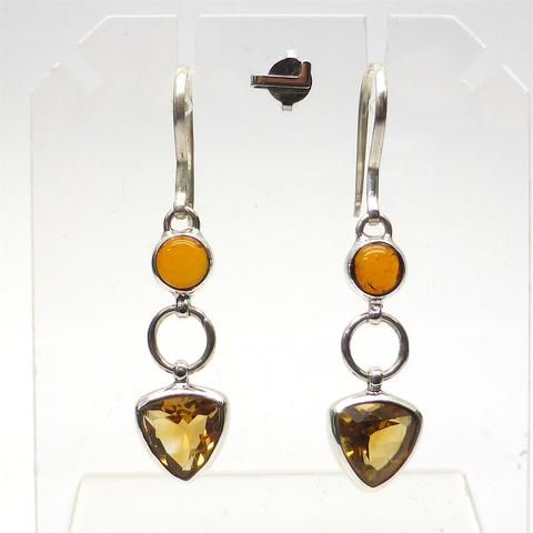 Earring Baltic Amber over Citrine Triskellion | 925 Sterling Silver | Authentic Stones | Crystal Heart Melbourne Australia since 1986