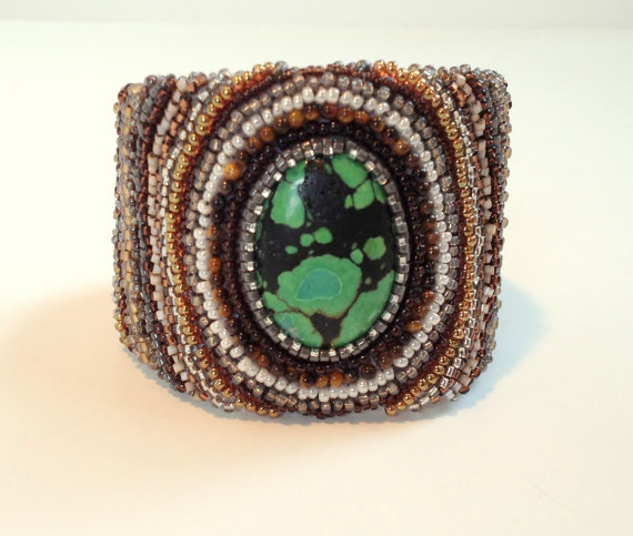 Turquoise Cabochon Bracelet with Tiger Eye and by RestlessArtMpls, $80.00