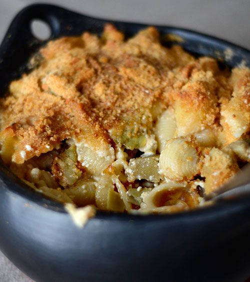 Macaroni and Cheese with Artichokes.  Healthier alternative to the traditional mac n cheese without the guilt.  Variations:  asparagus, sauteed mushrooms, fresh or roasted tomatoes, broccoli, basil, jalapeno,  . . .