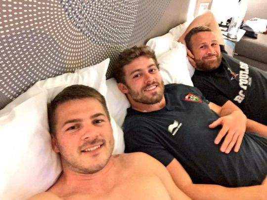 Toulon Rugby players Drew Mitchell , Leigh Halfpenny and Matt Giteau #Bromance