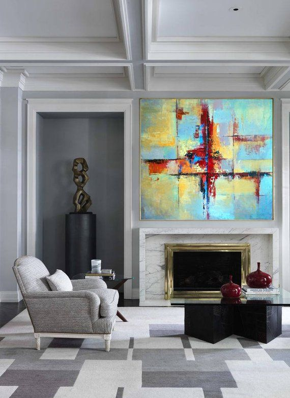 Oil Painting Large Colorful Wall Art Blue Painting Yellow Painting