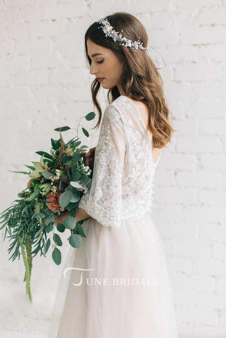 Bateau Lace Half Sleeve A-Line Tulle Dress With Low-V Back – #Aline #Bateau #Dre…