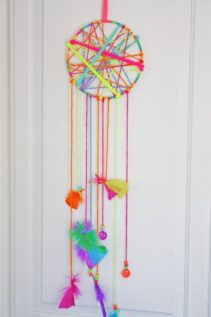 Dream catchers are a fun kids craft idea. Have your kids create their very own dream catcher to hang above their bed. Easily make this with some yarn and