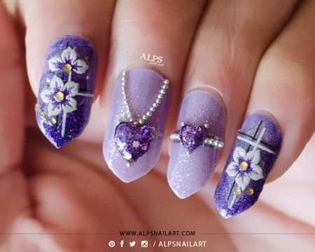3D Amethyst Jewelry Valentines Day nails by @alpsnailart #purple  #nailblogger Download #beautyapp - bellashoot to see more!