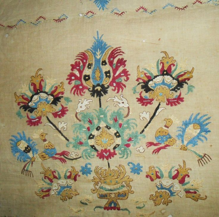17th or 18th century Greek island (Skyros) silk embroidery on fine cotton panel,7' x 3'.