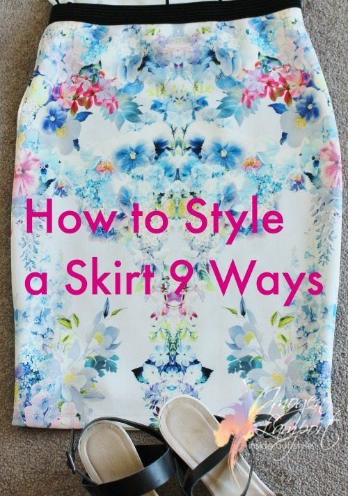 5 ways to style a skirt for different occasions - dress it up and down, for the office, an evening out, casual lunch, winter and summer.