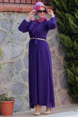 Merve Arslan Mor Alya Tesettür Elbise