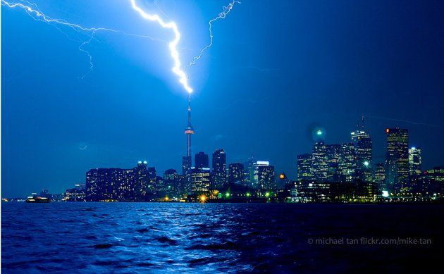 An amazing capture of lightning striking the CN Tower in Toronto, Canada on August 24, 2011.