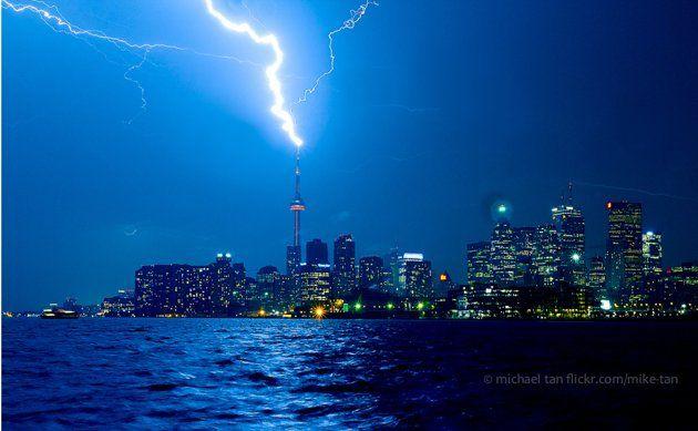 lightning striking the cn tower in toronto, canada