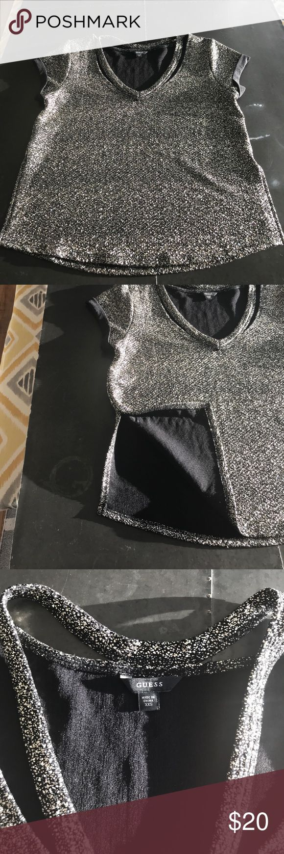 Metallic short sleeve shirt Metallic shirt (not sequin) with cutout neck and side slits. Guess Tops Tees - Short Sleeve
