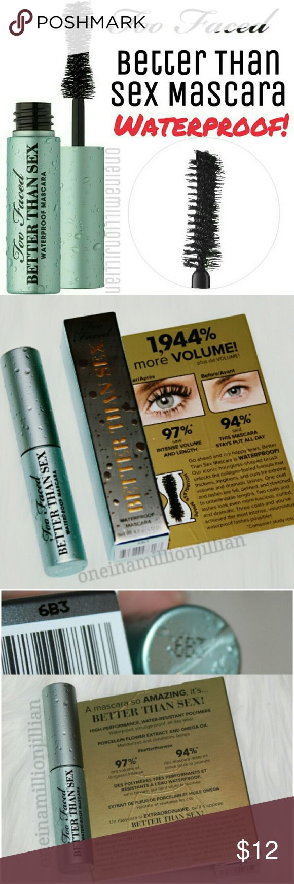 Too Faced Better Than Sex Waterproof Mascara New in Box  .17oz travel sz - Authentic  Color: Black  A waterproof, intensely black, volumizing mascara that separates, coats & curls each lash  ✔Same formula as the original + high-performance & water-resistant polymers ✔Same hourglass-shaped brush designed with extra stiff bristles to maximize performance  ◇ 1 Coat - Lashes are full & defined ♡ 2 Coats - Lashes are even more luscious, curled & dramatic ☆ 3 Coats - You've achieved the most…