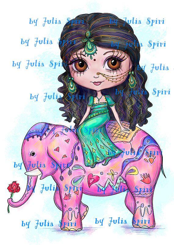 Digital Digi Stamps Scrapbooking printable Girl por JuliaSpiri