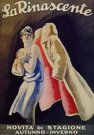 La Rinascente, grandi magazzini - Marcello Dudovich - 1922 - La Rinascente, novità di stagione autunno- inverno