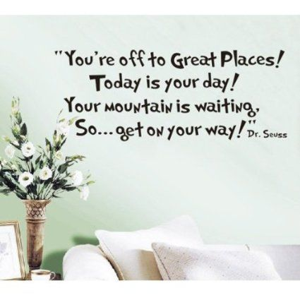 MZY LLC (TM) You're off to great places... Dr seuss Wall Sticker Decals Home Decor Art Vinyl Quote Mural Bedroom