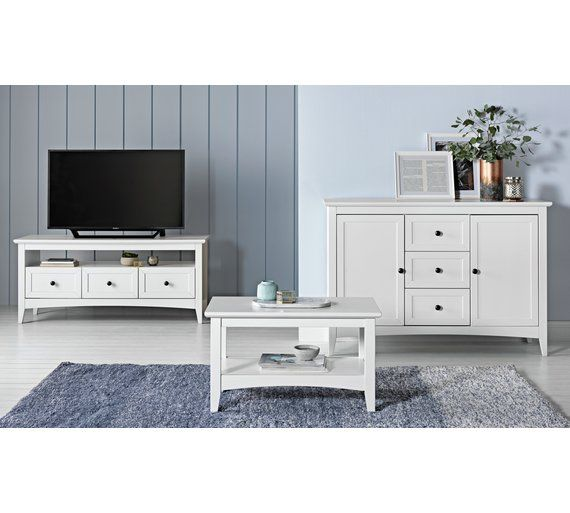 Buy Collection Camborne Solid Wood TV Unit - White at Argos.co.uk - Your Online Shop for Entertainment units and cabinets, Living room furniture, Home and garden.