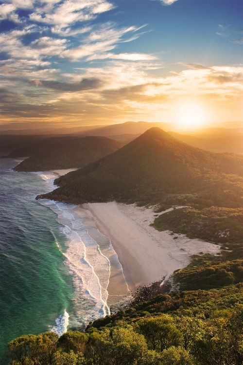 Zenith Beach, Australia. A stunning secluded beach accessed at the end of Shoal Bay beach and viewed from the Tomaree Headlands. Nearby cities: Canberra, Wagga Wagga, Gold Coast.