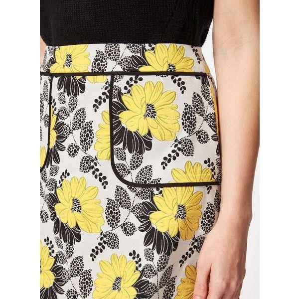 Miss Selfridge Petites Floral Jacquard Skirt ($35) ❤ liked on Polyvore featuring skirts, mini skirts, petite, yellow, miss selfridge skirts, floral print skirt, petite skirts, floral jacquard skirt and floral skirt