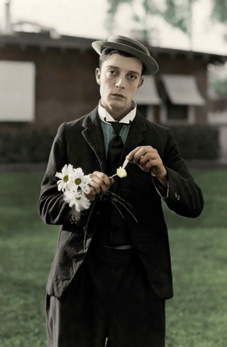 buster keaton in colour, old photograph, film, silent movies