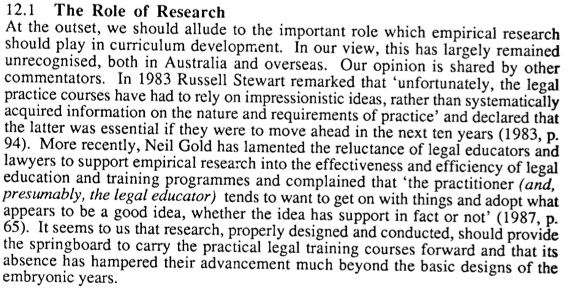 Research in Australian PLT - Has Much Changed?