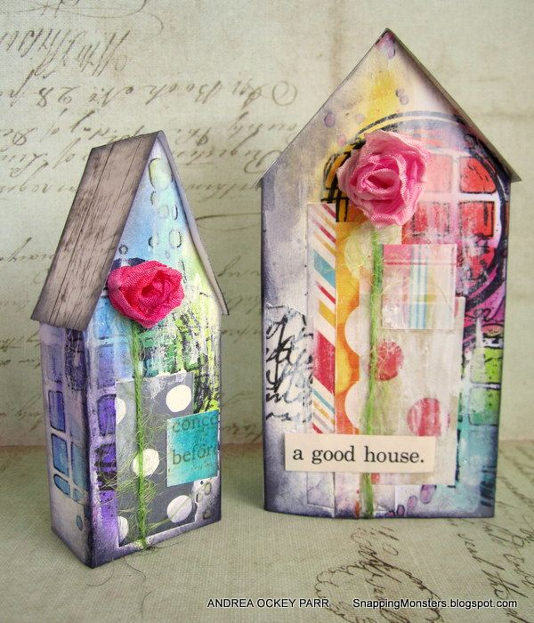 Snapping Monsters: My Other Creations: Houses Using Tim Holtz's Tiny Houses Die