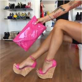 How about this shoe? Share to get a coupon for all on FSJ Hot Pink Wedge Sandals Ankle Strap Patent Leather Platform Heels