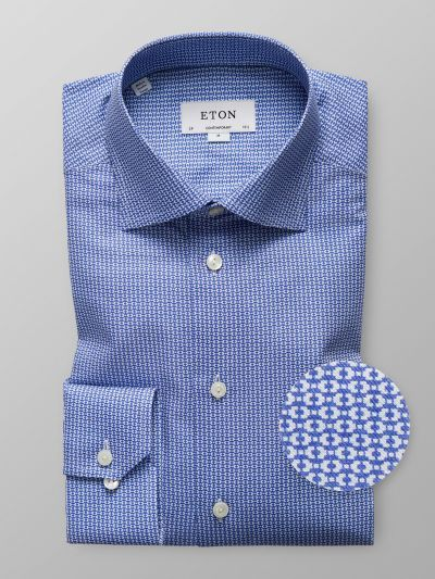 Navy Geometric Mélange Twill Shirt