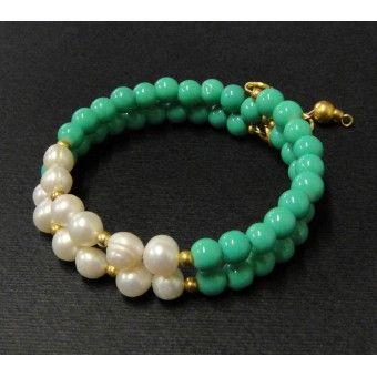 Pulsera de Moda con Perla de Río y Perla Cristal