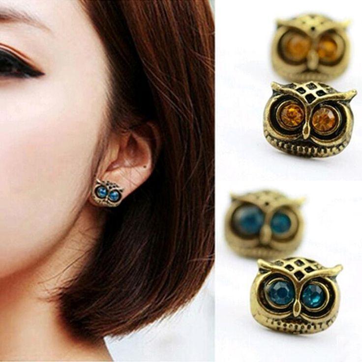 패션 핫 판매 빈티지 earings 보석 장식품 새로운 스타일 귀여운 사랑스러운 큰 눈 올빼미 귀걸이 블루 갈색 pendientes 이어링