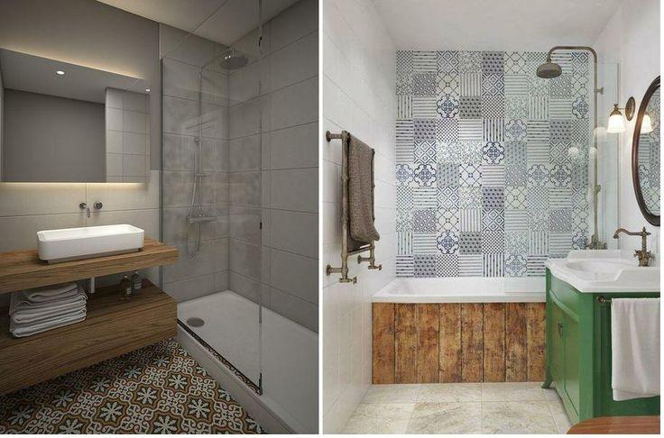Baldosa hidráulica en el baño | Baños, Baldosas, Cuarto de ...