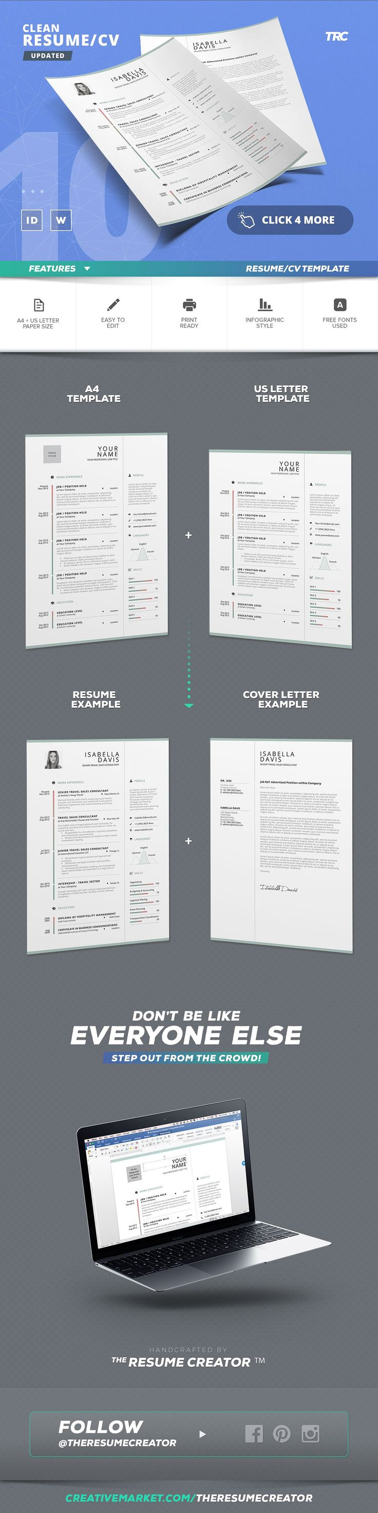 example objectives for resumes%0A Clean Resume Cv Template Volume    by TheResumeCreator on  creativemarket