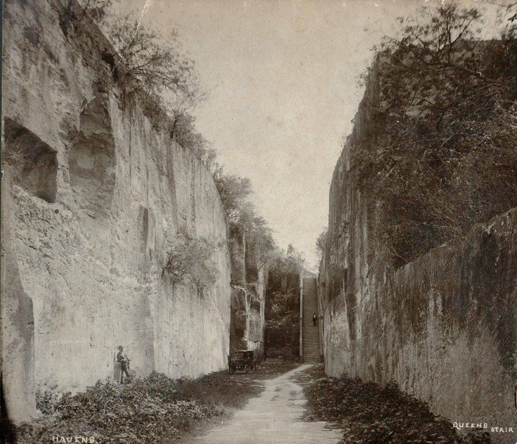 Early photograph of the Queen's Staircase, Nassau.