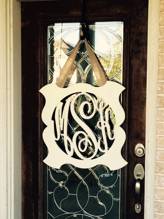Custom Monogram 3-Letter Initial Door Hanger 23 x 23 by ShopAtBear