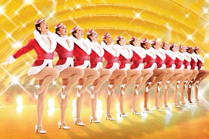 The Rockettes kick up their heels at the Christmas Show at Radio City Music Hall in NYC.