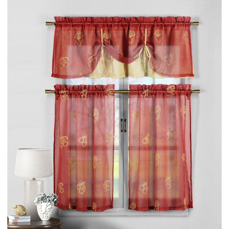 3 Piece Kitchen Window Curtain Set With Flower Embroidered: Best 25+ Red Kitchen Curtains Ideas On Pinterest
