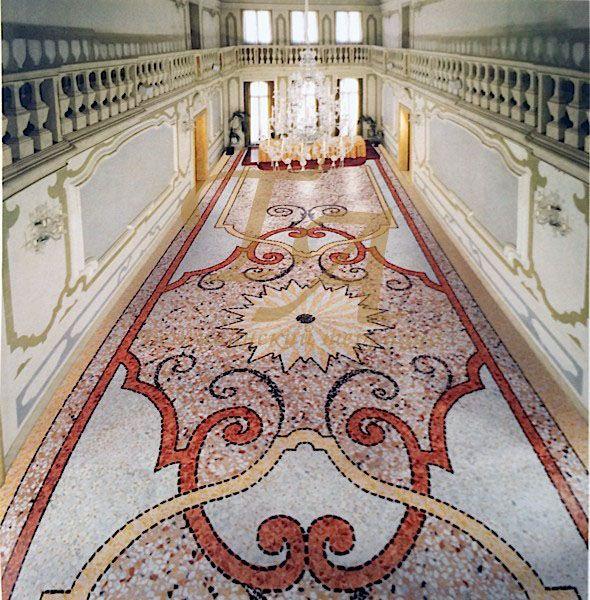 Венецианский терраццо Визуализация проекта венецианского терраццо со сложным декором в классическом стиле