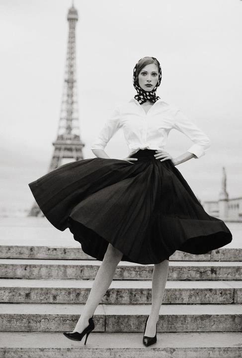 White shirt, full black skirt