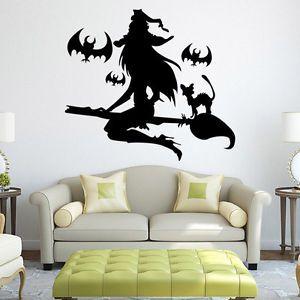Hexe Wand Sticker Halloween Deko Schlafzimmer Wohnzimmer Wandaufkleber