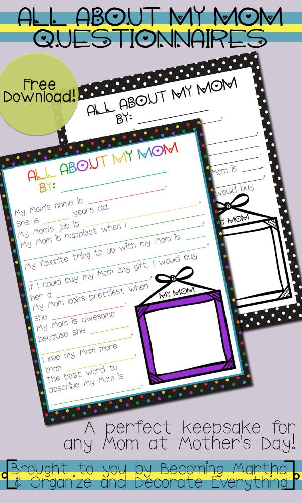 All About My Mom - a fun questionnaire for kids to fill out and a wonderful keepsake for Mother's Day! #yearofcelebrations #mothersday