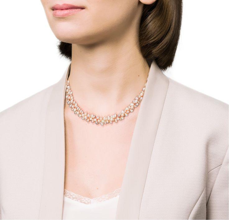 Collier perles de culture d''eau douce torsade multicolore avec fermoir argent 925‰. Longueur de 45cm