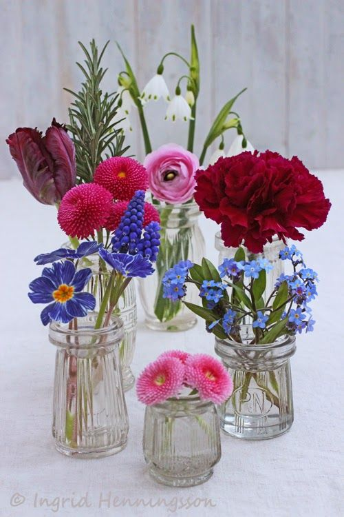 Flowers in vintage fish paste jars-Ingrid Henningsson-Of Spring and Summer