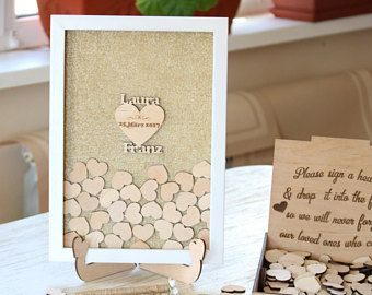 Buzón personalizado boda invitado libro madera corazón libro alternativo gota rústico madera blanco marco superior único oro de libro de huéspedes de nombre 3d