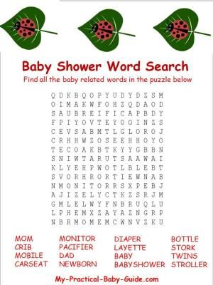 Free Printable Ladybug Baby Shower Word Search by My Practical Baby Shower Guide