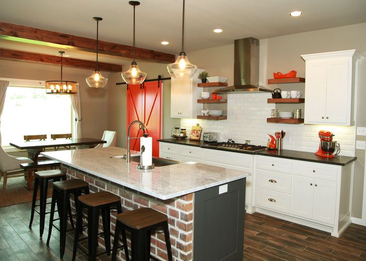 Modern Farmhouse Kitchen, Modern Industrial Kitchen, BOSCH Appliances,  Persimmon Kitchenaid Mixer, Industrial