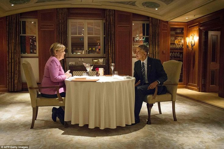 DINNER FOR TWO: Merkel and Obama dined together last night at the Hotel Adlon in Berlin. Merkel noted today they have had 'difficulties' in their relationship but also 'very close cooperation'