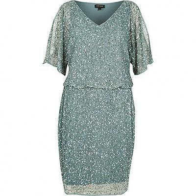 River Island Light Green Sequin Dress xx