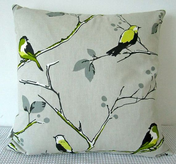 beige, green and grey bird and tree motif cushion cover, slip cover, throw pillow, decorative cushion, accent pillow. $25.00, via Etsy.