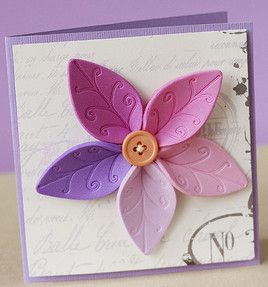 Foam Flower Cardmade with the new fiskars fuze machine. I am pretty sure I could just use some other embossing plate or something i my big kick, just don't use one full plate when running through to make up for the excess of thickness. could probably also hand emboss it!