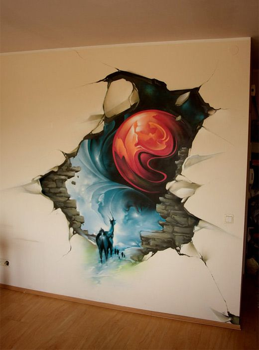 Cracked wall 3d graffiti artworks collection