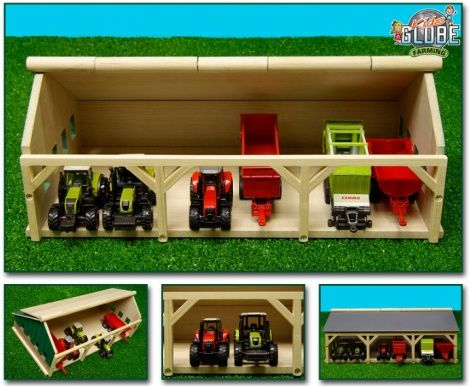 Kids Globe Wooden Barn for 6 Tractors 610491 - Mini Wooden Farm