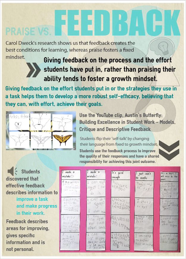 Watched Austin's butterfly video to learn about #feedback. Carol Dweck's research tells us the give feedback on process and #effort, not praise